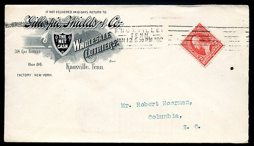 U.S. Type III 1st Bur. on 1902 Ad Cover for Gillespie Shields Clothier