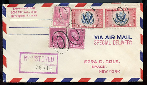 U.S. Scott 829 (2), 814 Prexies and CE2 (2) on Reg. 1952 Air Special Del. Cover