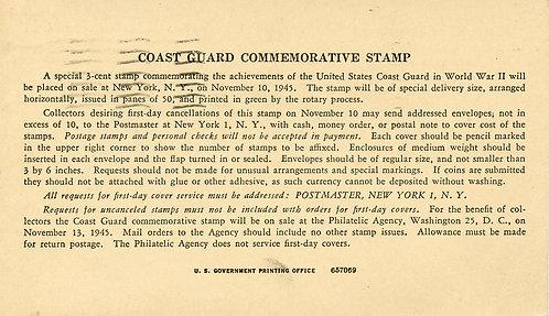 U.S. Scott 936 Coast Guard Commemorative USPOD First Day Announcement