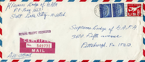U.S. Scott 1047 (2) on Certified Return Receipt UC10 Stamped Envelope