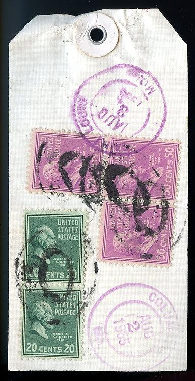 U.S. Scott 831 (3) and 825 (2) Prexies on Registered  Missouri Bank Tag