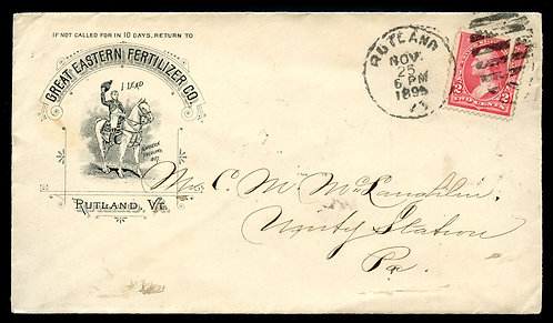 U.S. 1st Bur. Issue on 1895 Ad Cover for Great Eastern Fertilizer in Rutland, VT