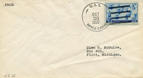 U.S. Scott 935 On 1950 U.S.S. Bryce Canyon Cover