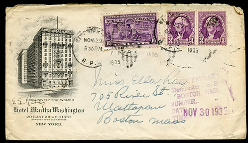 U.S. Scott 720 (2), E15 on 1935 Ad Cover for Hotel Martha Washington in NYC