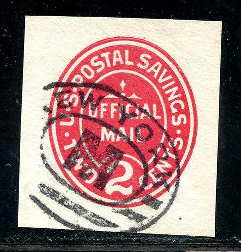 U.S. Scott UO72 Used 2 Cent Postal Savings Cut Square