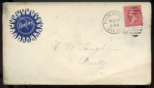 U.S. 1st Bur. Issue on 1895 Ad Cover for J. B. Ward & Co. in Pittsburgh