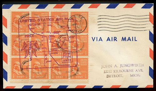 U.S. Scott 803 (12) Prexies on 1947 Brice, Utah Air Mail First Flight Cover