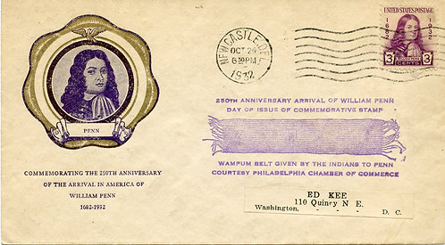 U.S. Scott 724 FDC Post Marked in Newcastle, Delaware with Rice Cachet