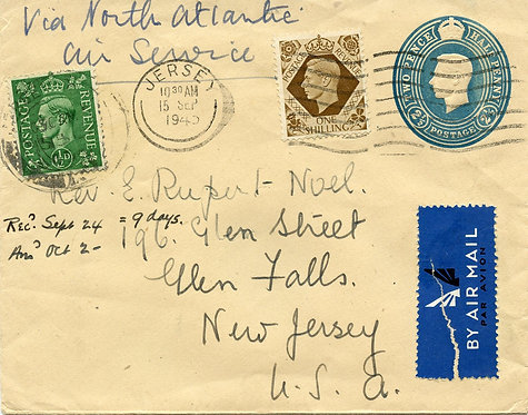 Great Britain Scott 248 and 258 On 2.5 Pence George VI Stamped Envelope