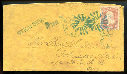 U.S. Scott 65 on 1860s Steamboat Due Cover from Savannah, Georgia