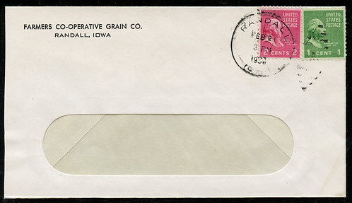 U.S. Scott 806 and 804 on 1939(?) Randall, Iowa First-Class Cover