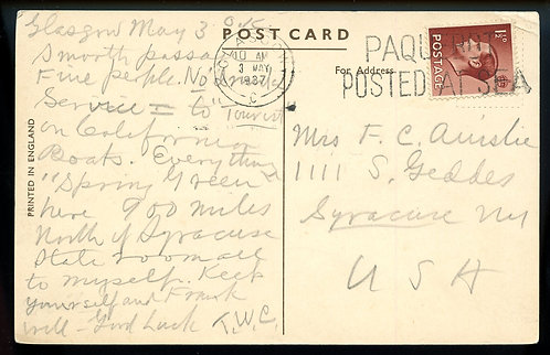 Great Britain Scott 232 On Post Card Posted At Sea T.S.S. Transylvania