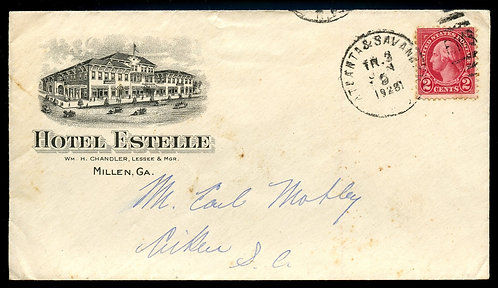 U.S. Scott 634 on 1928 RPO Ad Cover for the Hotel Estelle in Millen, Georgia