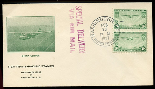 U.S. Scott C21 20 Cent Trans-Pacific Air FDC Post Marked in Washington,