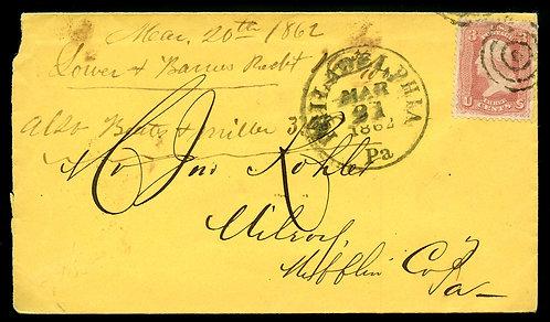 U.S. Scott 65 on 1865 Bookseller Ad Cover from Philadelphia, PA