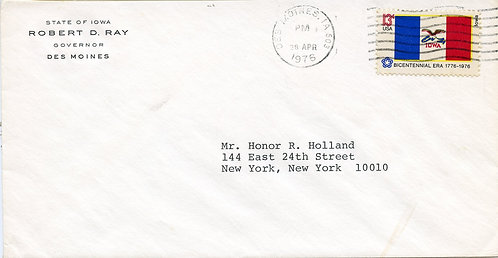 U.S. Scott 1661 Picturing IA Flag On 1976 Cover w/Corner Card for Iowa Governor