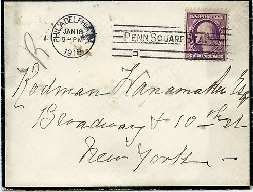 U.S. Scott 501 on 1918 Mourning Cover Sent from Philadelphia, PA