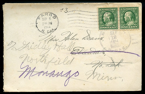 U.S. 1 Cent Franklin Booklet Pair on 1914 Forwarded North Dakota Cover