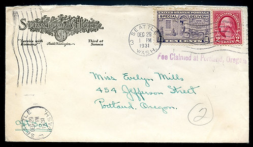 U.S. Scott 634, E15 on 1931 Ad Cover for the Stratford Hotel in Seattle, Wash.