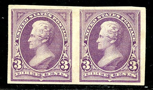 U.S. Scott 221P5 3 Cent Bank Note Proof Pair On Stamp Paper