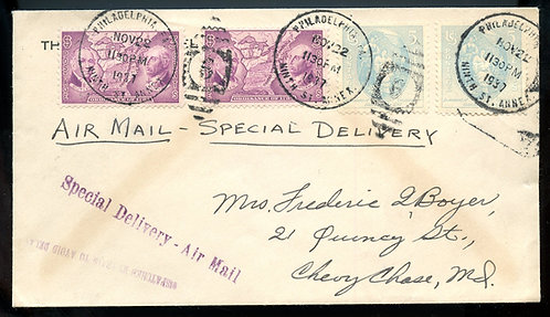U.S. Scott 795 (2) and 796 (2) on 1937 Airmail Special Delivery Cover