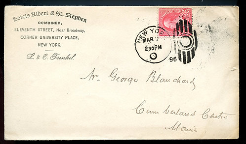 U.S. 1st Bur. Issue on 1896 Ad Cover for the Hotels Albert & St. Stephen in NYC