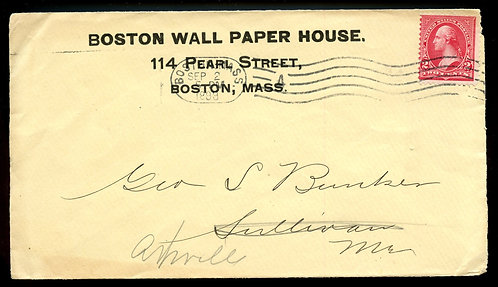 U.S. Type III 1st Bur. Issue on 1899 Ad Cover for the Boston Wall Paper House