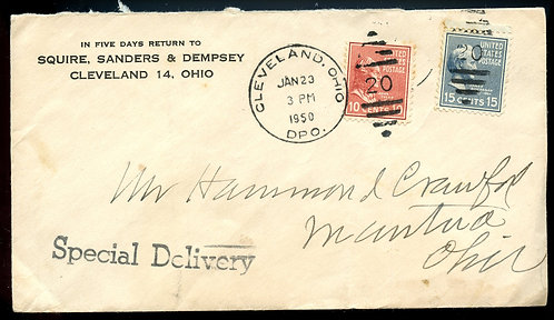 U.S. Scott 820 and 815 Prexies on 1950 Cleveland, Ohio Special Delivery Cover