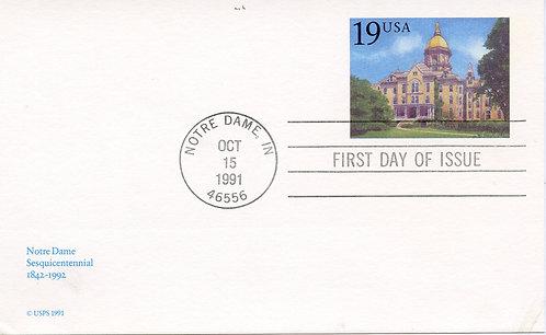 U.S. Scott UX157 Postal Card FDC Picturing Notre Dame University