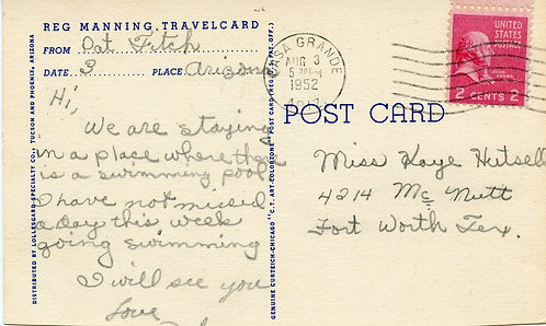 U.S. Scott 806 on 1952 Reg Manning Greetings From Southwest Post Card