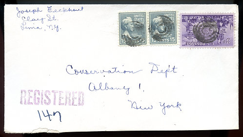 U.S. Scott 820 (2) Prexies and 1015 on Registered Lima, NY Cover