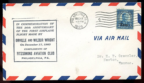 U.S. Scott 563 on 1929 Cover for Anniversary of 1st Flight by Wright Brothers