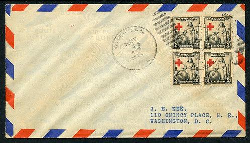 U.S. Scott 702 (4) block on 1933 Airmail Cover from Gueydan, LA