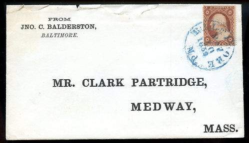 U.S. Scott 26 on 1859 Cover with Blue Baltimore MD Cancel and Enclosure