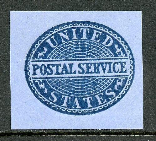 U.S. Scott UO17 Unused Postal Service Blue on Blue Cut Square