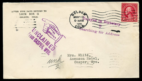 U.S. Scott 554 on 1926 Colorado Cover w/Unclaimed Return To Writer
