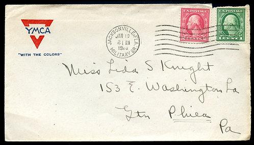 U.S. Scott 499, 498 on 1917 YMCA Cover from Camp Johnston in Jacksonville, FL