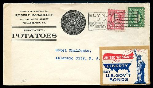 U.S. Scott 499, 498 on 1919 Ad Cover for McCaully Potatoes in Philadelphia