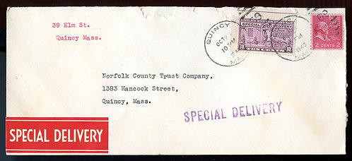U.S. Scott 841 Coil and Scott E15 on 1940 Special Delivery  Letter