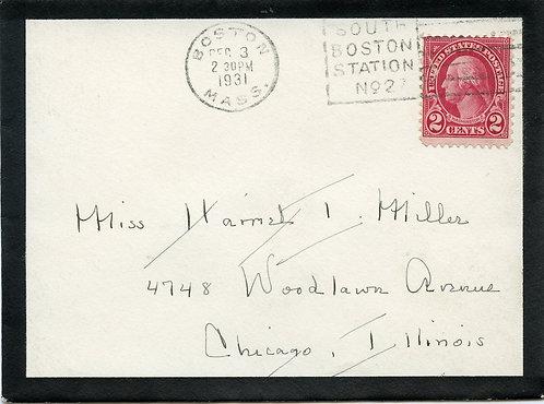 U.S. Scott 599 on 1899 Mourning Cover Sent from Boston, Massachusetts