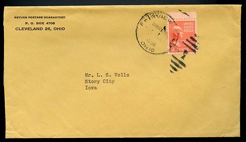 U.S. Scott 811 Prexie Solo on Double Weight First-Class Cover