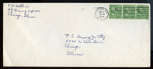 U.S. Scott 804 Coil Joint Line Strip of 3 on 1954 Illinois 1st Class Cover