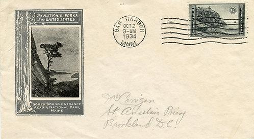 U.S. Scott 746 FDC Post Marked in Bar Harbor, Maine