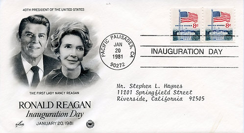 U.S. Scott 1338G (2) On 1981 Reagan Inaugural Cover from Pacific Palisades, CA