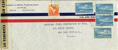 Cuba Scott C5 (5) and RA5 On Censored Air Mail Cover to New York from Havana