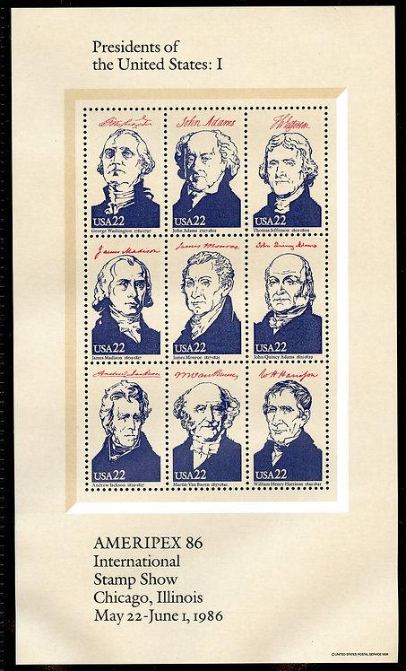 U.S. Scott 2216-2219 MNH AMERIPEX 1986 Souvenir Sheets