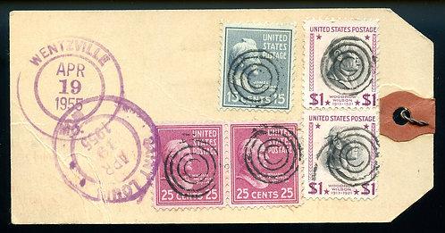 U.S. Scott 832 (2), 829 (2) and 820 Prexies on Reg. 1955 MO Bank Tag