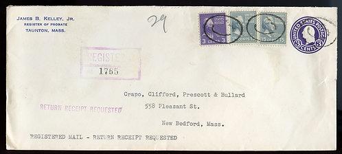 U.S. Scott 820 (2) and 807 Prexies on Registered Return Receipt 1951 U534 Cover