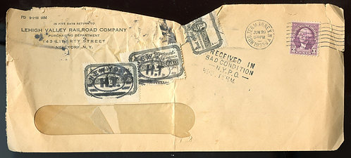 U.S. Scott 720, OX21 (3) on Damaged 1933 Leehigh Valley Railroad Company Cover