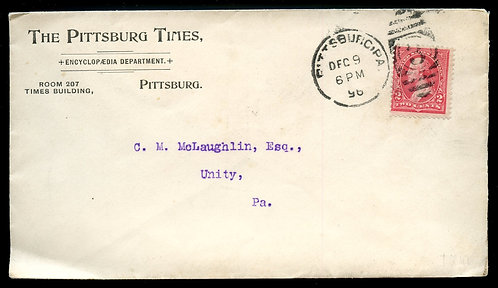U.S. Type III 1st Bur. Issue on 1896 Ad Cover for Pittsburg Times
